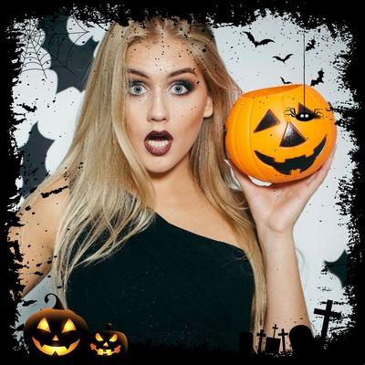 Happy halloween facebook photo frame pumpkin halloween Photo de decoration